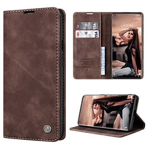 RuiPower Handyhülle für OnePlus 8 Pro Hülle Premium Leder PU Flip Hülle Magnetisch Klapphülle Wallet Lederhülle Silikon Bumper Schutzhülle für OnePlus 8 Pro Tasche - Koffee