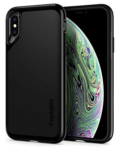 Spigen 063CS24919 Neo Hybrid Kompatibel mit iPhone XS Hülle, iPhone X Hülle, Modische Muster Silikon und PC Rahmen Schutzhülle Case Jet Black