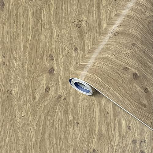 Klebefolie Perfect Fix Eiche Astig, Holzfolie, Dekofolie, Möbelfolie, Tapeten, selbstklebende Folie, PVC, ohne Phthalate, keine Luftblasen, Natur-Holzoptik, 45cm x 2m, Stärke: 0,15 mm, Venilia 53334