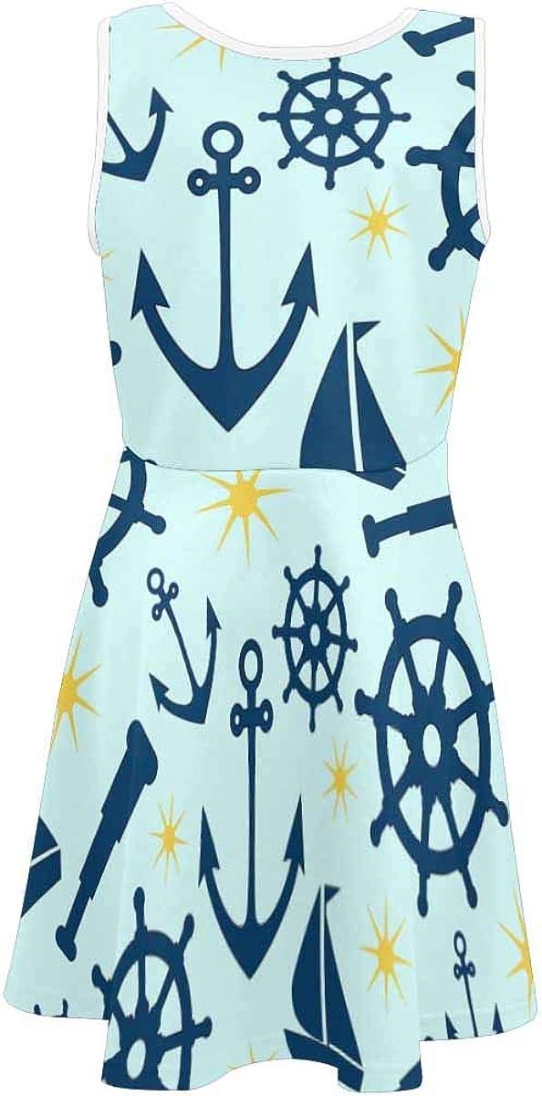 INTERESTPRINT Girls Sleeveless Dress Round Neck Casual Party Sundress 4-13 Years Sea Pattern with Sailing Symbols S