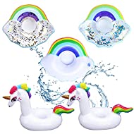 Package Included:5 Pcs Inflatable Drink Holders with 3 Different Designs, Unicorn, Clouds and Clouds with Glitter HIGH QUALITY: Our inflatable cup holder is made of high quality PVC material, non-toxic, safe, durable and reusable. EASY TO USE AND CAR...
