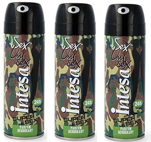 3x Intesa Unisex sex supersex Parfüm Deodorante Deo Spray 125 ml aus Italien