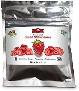 Snack Size Strawberries - All Natural 100% Freeze Dried Sliced Strawberries: NO Added Sugar NO Preservatives Vegan Gluten-...