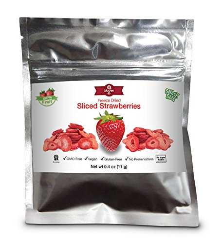 Snack Size Strawberries - All Natural 100% Freeze Dried Sliced Strawberries: NO Added Sugar NO Preservatives Vegan Gluten-Free Paleo Healthy Snack for Children & Adults. (Snack Size 0.4 oz)
