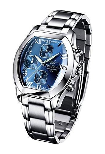 FIREFOX NEBUKADNEZAR FFS175-103a Sunray blau Damenuhr Armbanduhr Chronograph massiv Edelstahl Sicherheitsfaltschließe wasserdicht Laufwerk Miyota OS10