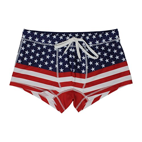5th Industry is Now Project 5I - Men's Swim Brief Square Leg Swimsuit - American Flag - Large