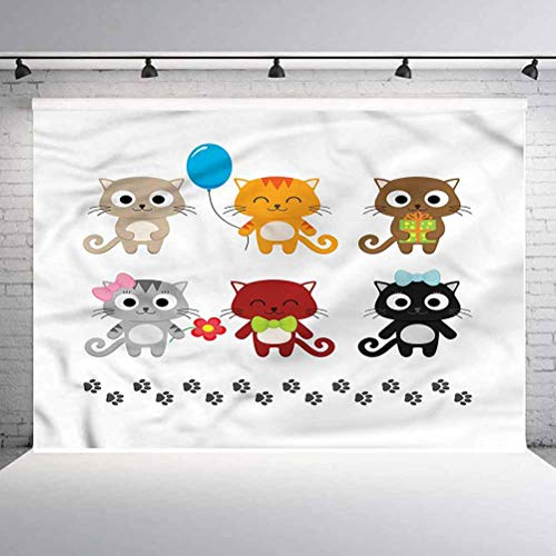 8x8FT Vinyl Wall Photography Backdrop,Cat,Partying Kittens Cartoon Background for Party Home Decor Outdoorsy Theme Shoot Props