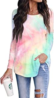 SAUKOLE Women's Long Sleeve Workout Shirts Round Neck Cute Printed Tie Dye Tunic Tops Loose Activewear Sports Shirt Blouse