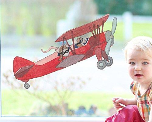 TinyFoxes Fensterbild Flieger - Kleberfreie und Wiederverwendbare Kinderzimmerdeko