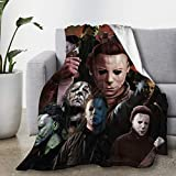 Sunfloral Michael-Myer-s Horror Halloween Blanket Movie Character Flannel Throw Blanket,Cozy Air Conditioning Nap Blankets, Lightweight, Warm, for Bed,Sofa, Couch, Living Room Large 80'x60'