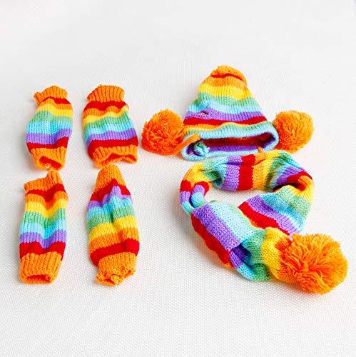 Kofun huisdier hond hoed winter warm 3 keer streep gebreide acryl sjaal sokken puppy kostuum kleding 1 set