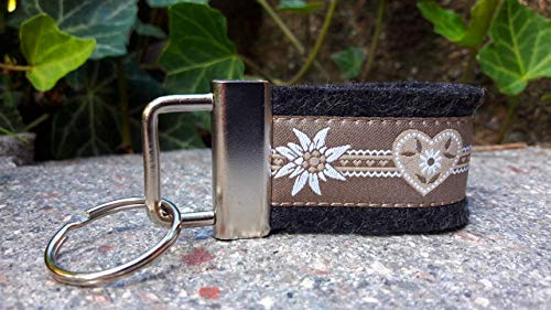 Schlüsselanhänger Taschenanhänger Wollfilz schwarz grau Herzen beige Edelweiß Trachtenschick Taschenanhänger Landhausstil!