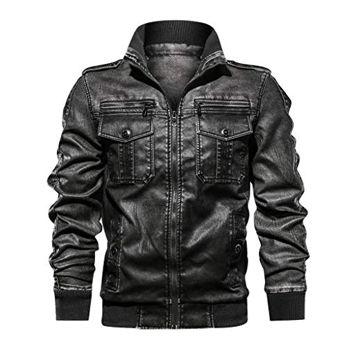 LILICAT Herren Biker Kunstleder Jacke Mode Retro Jacke Kunstleder Biker Slim Fit Modern Freizeit Zipper Mantel Motorrad Jacke Pilotenjacke...