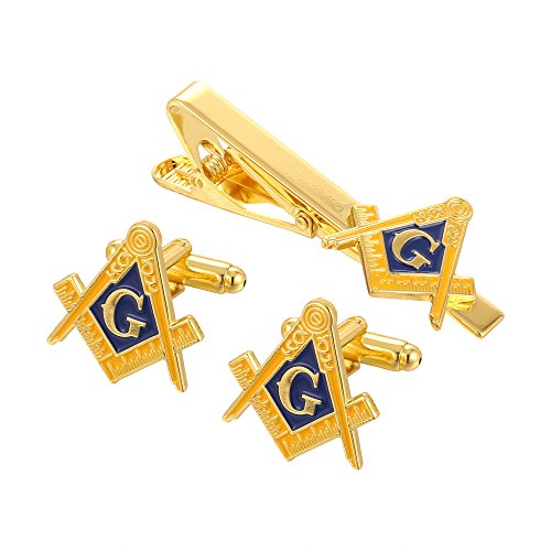 Gold Masonic Tie Pin and Matching Cufflinks