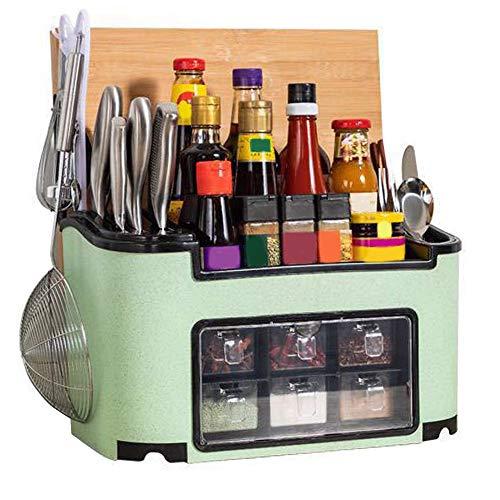 Ritioner Gewürzregal, Küchenregal, Mehrzweck Aufbewahrungsbox, Messerhalter, Gewürzregal Schranktür for Küchen, 39 x 20 x 23 cm grün