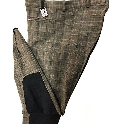 Kyron Damen Reithose Alexa, hochwertiges Polyamid-Baumwoll-Mischgewebe, sehr leicht und hochelastisch, schwarzer Antislip-Vollbesatz, ohne Gürtel (Karo Jade, 42)