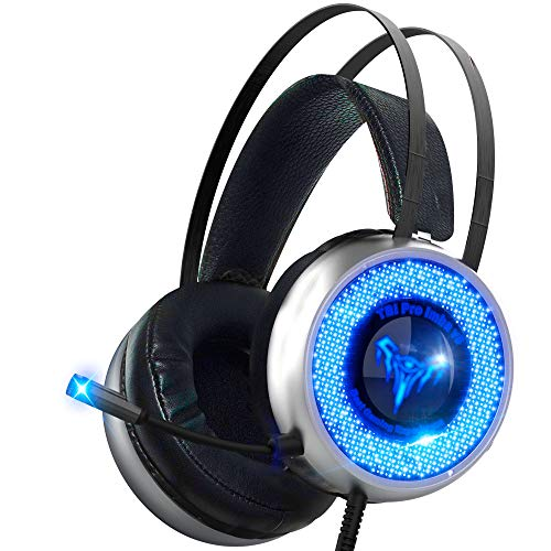 Led Gaming Headset with Microphone – Surround Sound Stereo Wired Gamer Headphones for PC, PS4, PS3, Xbox, Nintendo Switch – Noise Cancelling Playstation Headset with USB & 3.5 Jack – for Teens Mens