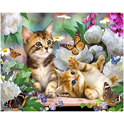 NAESM DIY 5D Diamant Malerei Kits, 5D Diamond Painting Set Katze, Malen nach Zahlen Diamant, Diamant Painting Bilder Arts Craft für Home Wand-Decor (Sweet Cat)