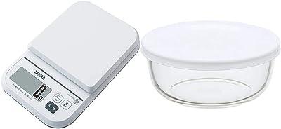 タニタ クッキングスケール キッチン はかり デジタル 2kg 1g単位 ホワイト KJ-210M WH ごはんのカロリーがはかれる + iwaki(イワキ) 耐熱ガラス 保存容器 S 400ml ~ごはん 1膳 パックぼうる~ KBC4140-W1