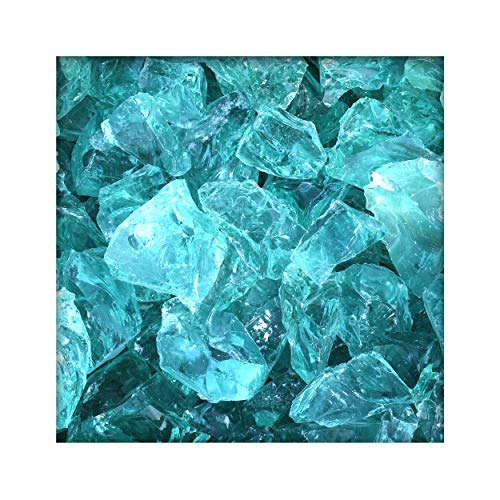 Kieskönig Glasbrocken Glasbruch Glassteine Glas Gabione 60-100 mm Türkis 20 KG