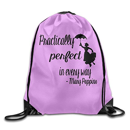 Mary Poppins Practically Perfect In Every Way Nylon Drawstring Drawstring Bag for Girls and Boys