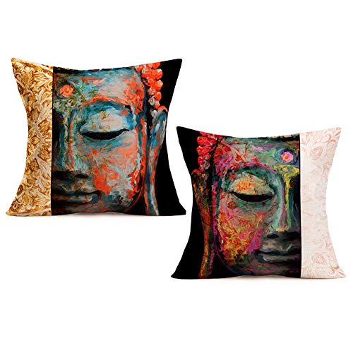 Royalours Throw Pillow Covers Vintage Buddha India Zen Culture Decorative Pillow Cases Standard Pillow Covers Cotton Linen Square Cushion Cover for boy girl Sofa Couch Set of 2 18x18 Inch (Buddha 2PS)