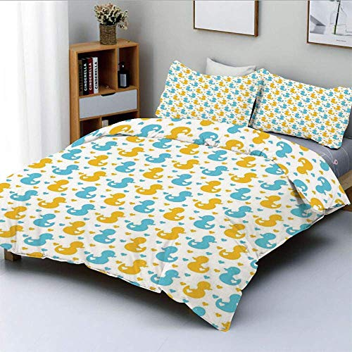 Duvet Cover Set,Baby Ducklings Pattern with Little Hearts Love Animals Print Nursery Room Decorative 3 Piece Bedding Set with 2 Pillow Sham,Blue and Yellow,Best Gift for Kids &