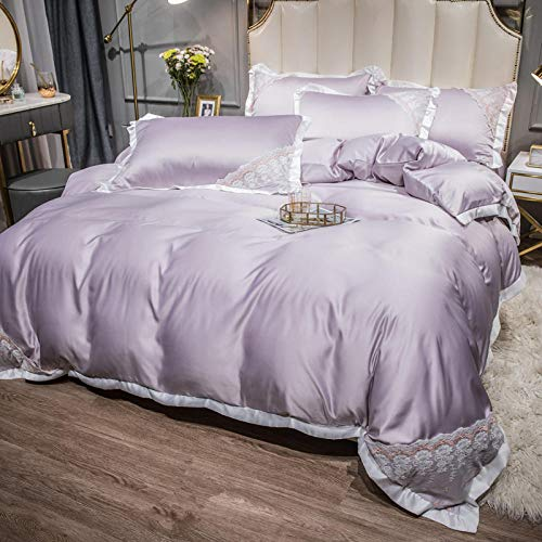 funda nordica cama 90,Spring and Summer Net Hong Models Seda de cuatro piezas Silk Silk Slide Princess Warbed Single Package Almohadilla Set Desplied Anti-Wrinkle Anti-Fading and Low-Allert Supplies