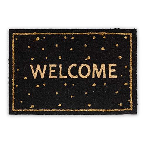 Relaxdays Fußmatte Welcome Kokos, HBT: 1,5 x 60 x 40 cm, Glitter, gepunktet, rutschfest, Kokosfaser, Gummi, mehrfarbig