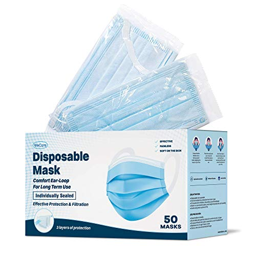WeCare Disposable Face Masks with Ultra Comfort Ear Loops - 50 Pack, Blue - 3 Ply Face Masks for Pain Free Extended Wear - Individually Wrapped