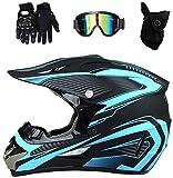 Adulto de la cara llena del casco de motocross Negro con los guantes Gafas (4 unidades) Moto Cross Casco Conjunto de los niños de la motocicleta Casco protector para MTB Downhill Dirt Bike MX ATV,L