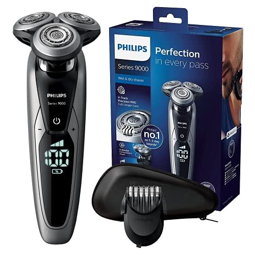 Philips Rasoi Elettrici S9711/41 Series 9000 Rasoio Elettrico Wet & Dry con Lame di Precisione, Regolabarba di Precisione SmartClick