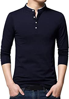 Mens Standing Collar Long Sleeve Polo T-Shirt Pure Henley Tops