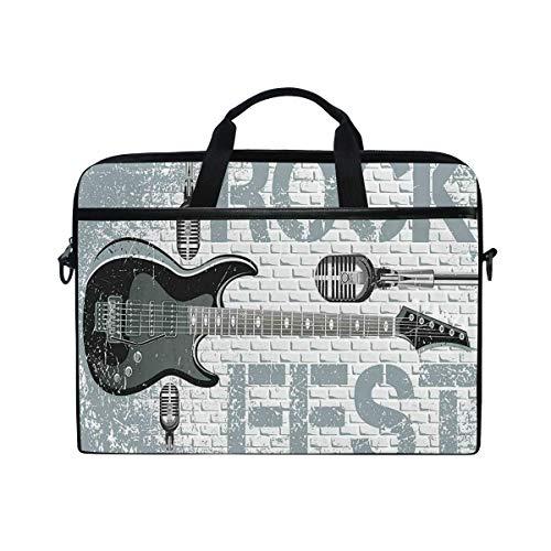 VICAFUCI Nuevo Bolso para portátil de 15-15.4 Pulgadas,Música Rock Grunge Color Salpicaduras Fondo Pared Ladrillo Guitarra Electrónica Diseño Micrófono