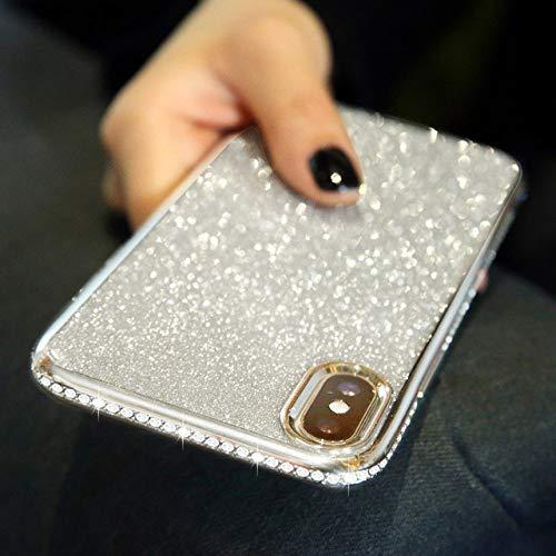 WQDWF Shiny Diamond Glitter Carcasa para iPhone 11 12 Mini Pro XS MAX X XR 10 7 8 Plus 6s 6 SE 2020 Funda de TPU Suave con Diamantes de imitación, Plateada, para iPhone XS