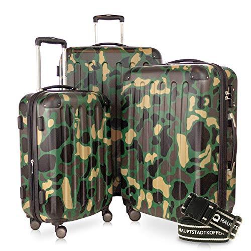 HAUPTSTADTKOFFER - Spree - 3er Koffer-Set + Gepäckgurt - Handgepäck 55 cm, mittelgroßer Koffer 65 cm, großer Reisekoffer 75 cm, TSA, 4 Rollen, Camouflage