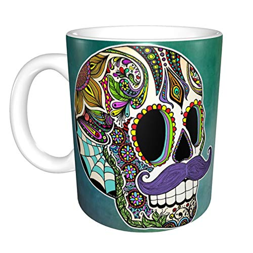 Mustache Sugar Skull Color Version Home Ceramic Tea Cup Office Coffee Mug 10 Oz