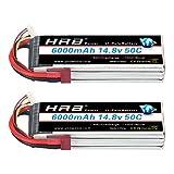 HRB 2 Pack 4S Lipo Batterie 6000mAh 14.8V RC Lipo 50C avec Deans T Plug pour Traxxas Slash X-Maxx RC Evader BX Voiture Buggy Truggy RC Héli Avion Drone Hobby