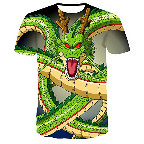 Sunofbeach Unisex 3D Gedrukt T-shirt Zomer Gepersonaliseerde Casual T-shirt met korte mouwen Tops, Novelty Fantastic Animal Green Chinese Draak