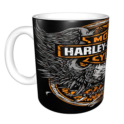 Harley Davidson Glänzende Keramik-Kaffeetasse, Teetasse für Büro und Zuhause, 330 ml, geeignet für Spülmaschine und Mikrowelle, 1 Stück