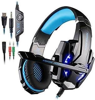 KOTION Each G9000 - Auriculares de Diadema con micrófono (3,5 mm, luz LED, para portátil, Tableta, teléfonos móviles, PS4), Color Negro y Azul