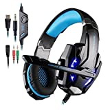 KOTION Each G9000 Headset 3.5mm Game Gaming Headphone Earphone with Microphone LED Light for Laptop Tablet Mobile Phones PS4 - Black + Blue