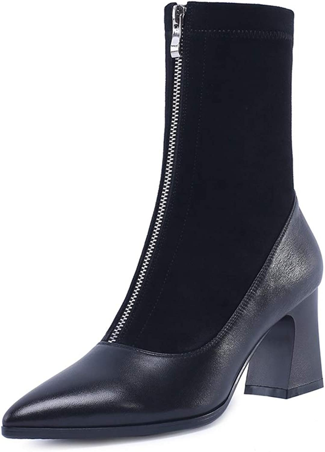 Women's Booties, Fall Winter Leather Socks Boots Ladies Thick Heel Casual Martin Boots (color   A, Size   35)