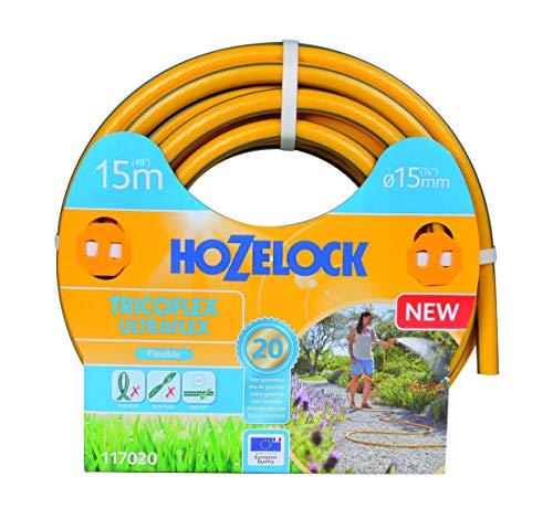Hozelock Tricoflex Ultraflex Manguera, Amarillo, 15 mm diámetro, 15 metros