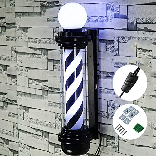 GYL SALON POLE 35″ LED Poste de barbero,Peluquería lámpara giratoria lámpara de barbero Letrero lámpara de salón de Belleza al Aire Libre Impermeable peluquería lámpara de Pared