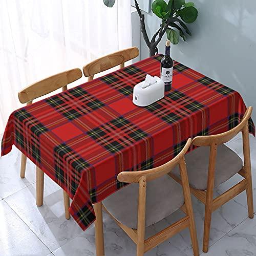 Mantel de tartán Royal Stewart ~ Wee, mesas rectangulares Reutilizables, Cubierta de Comedor, poliéster, Impermeable, a Prueba de Aceite, Cubierta de Mesa 137X183CM