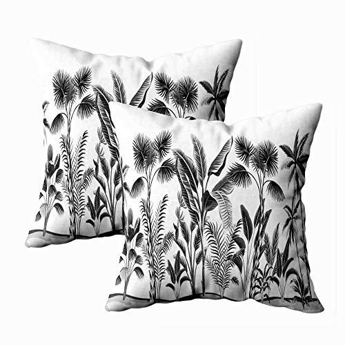 Juego de 2 fundas de almohada para exteriores, 45,7 x 45,7 cm, diseño de palmeras, plátano, diseño floral, color blanco, para decoración del hogar, fundas de almohada con cremallera para sofá