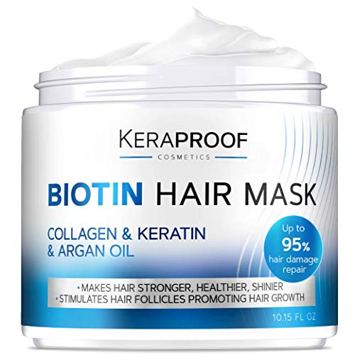 Biotin & Collagen Hair Mask with Argan Oil - Keratin Conditioner Natural Hair Growth - Deep Care & Repair for Dry, Damaged, Color Treated, Wavy & Curly Hair - Hair & Scalp Treatment for Women - 10 Oz