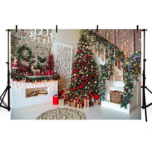 MEHOFOTO 7x5ft Winter Kerstdiner Feest Backdrops Rood Goud Klokken Bomen String Lights Trap Fotografie Achtergrond Baksteen Muur Open Haard Geschenken Vrolijke Kerstmis Vakantie Verjaardag Banner Photo Props
