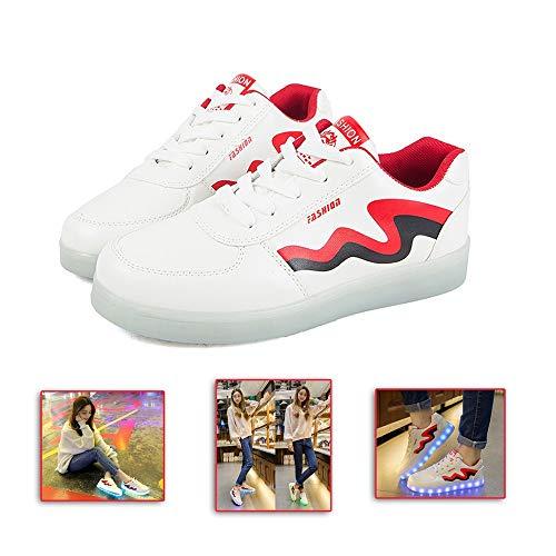 Ice-Beauty-ukzy Zapatillas De Luces Led, LED Zapatos 7 Colores USB Carga Luminosas Flash Deporte De Zapatillas Low Top Niños para Hombres Mujeres con Luces Los Mejores RegalosRed-41